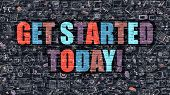Get Started Today Concept with Doodle Design Icons. poster