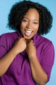picture of black curly hair  - Laughing Young Woman - JPG