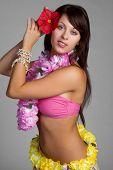 stock photo of hula dancer  - Beautiful tropical hula dancer girl - JPG