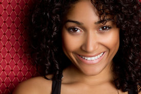 image of african american woman  - Smiling African American Woman - JPG