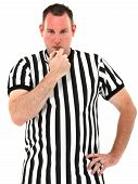 Referee Blowing Whistle Over White Background