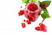 Homemade Jam. Glass Jar With Red Currant Jam On White Background. Preserved Berry. poster
