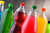 Plastic Bottles Of Assorted Carbonated Soft Drinks Over White poster