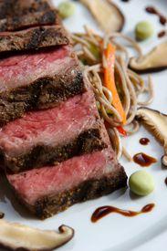 stock photo of gourmet food  - An image of gourmet Japanese seared beef - JPG