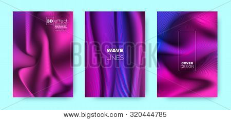 poster of Vibrant Fluid Poster. Abstract Cover. Vibrant Business Background. Neon 3d Geometric Linear Texture.