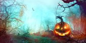 Halloween Background With Pumpkins poster