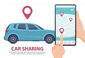 Car Sharing. Rent Car Online Mobile App Web Page Concept. Vector Find Vehicle On Map Illustration. B poster