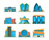 Mall Flat. Big Urban Store Buildings Hypermarket Shopping Houses Vector Collection. Collection Of Hy poster