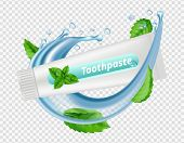 Mint Toothpaste. Water Splash, Mint Leaves, Toothpaste Tube Isolated On Transparent Background. Dent poster