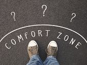 Feet Of Unrecognizable Person Standing On Street With Chalk Text On Asphalt - Leaving Comfort Zone C poster