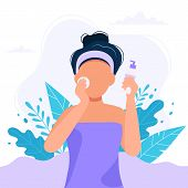 Skin Care Routine. Woman Cleansing The Her Face With Cosmetic Product, Beauty Routine. Cute Vector I poster