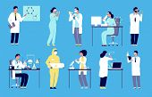 Scientists Characters. People In White Lab Coat, Chemical Researcher With Laboratory Clinical Equipm poster
