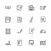 Writing, Write Poetry Outline Icons Set - Black Symbol On White Background. Writing, Write Poetry Si poster