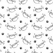 Seamless Pattern With Meow Lettering With Cat Whiskers, Ears And Smile. Black Drawing On White Backg poster