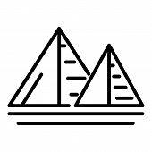 Two Egyptian Pyramids Icon. Outline Two Egyptian Pyramids Vector Icon For Web Design Isolated On Whi poster