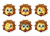 Lion Animal Emoticon Vector Set. Lion Animals Head Emoji Set With Happy And Funny Face Expression An poster