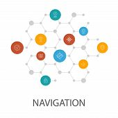 Navigation Presentation Template, Cover Layout And Infographics. Location, Map, Gps, Direction poster