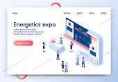 Energetics Expo Horizontal Banner. Exhibition Center Stand With Graphs And Tiny People In Casual And poster