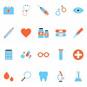 Flat Minimal Medical Icon Set. Simple Vector Medical Icon Set. Isolated Medical Icon Set For Various poster