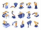 Isometric Robotic Arm. Industrial Factory Machines, Manufacturing Automatisation And Production Line poster