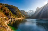 Autumn Scenery Of Gosausee Lake With Dachstein Glacier On Background. Salzkammergut Region, Upper Au poster