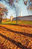 Veliky Novgorod, Russia. Fedor Tower And Clock Tower Of Veliky Novgorod Kremlin At Autumn Sunny Morn poster