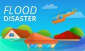 Flood Disaster Concept Banner. Cartoon Illustration Of Flood Disaster Vector Concept Banner For Web  poster