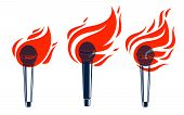 Microphone On Fire, Hot Mic In Flames, Rap Battle Rhymes Music, Karaoke Singing Or Standup Comedy, V poster