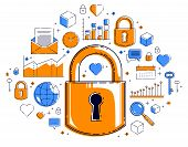 Padlock Lock Surrounded By Different Icons Set, Internet Protection Concept, Antivirus Or Firewall,  poster