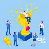 Isometric Businessman Success, Leadership, Awards, Career, Successful Projects, Goal, Winning Plan,  poster