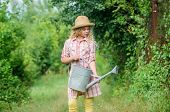 Girl Child Hold Watering Can. Spring Gardening Checklist. Watering Tools. Measure Soil Water Content poster