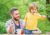 Father Son Eat Food And Have Fun. Food Habits. Little Boy With Dad Eating Food Nature Background. Su poster