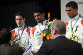KIEV, UKRAINE - APRIL 14, 2012: French men's epee team on Medal ceremony during World Fencing Champi