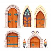 Medieval Castle, Fantasy Citadel Or Fortress, Scarifying, Fairy Dungeon Or Temple Heavy, Wooden Door poster
