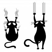 Set Of Black Cats Scratching The Wall. Collection Of Silhouettes Of Cartoon Cats Climbing The Wall.  poster