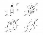 Mint Bag, Beer Bottle And Apple Line Icons Set. Peanut Sign. Mentha Tea, Craft Beer, Diet Food. Vege poster