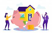 Woman And Man With Piggy Bank. Buying House On Credit. Vector Illustration. Credit Project. Money Fr poster