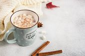 Hot Cocoa Mug With Murshmallows, Autumn Leaves, Anise Stars On Grey Background. Close Up, Copy Space poster
