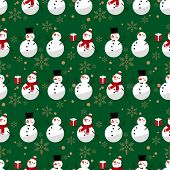 Christmas Holiday Season Seamless Pattern Of Snowman In Winter Custom With Gift Box And Snowflakes.  poster