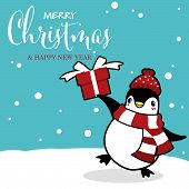 Christmas Holiday Season Background With Cute Cartoon Penguins In Winter Custom On Snow Hill With Gi poster