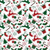 Christmas Elements Seamless Pattern For Greeting Cards, Wrapping Papers Etc. Design For Greeting Sea poster