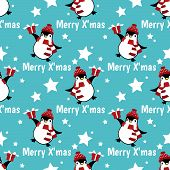 Christmas Holiday Season Seamless Pattern With Cute Cartoon Penguins In Winter Custom With Gift Box, poster