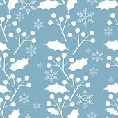 Christmas Elements, Snowflakes With Holly Leaves And Berries Ornate Seamless Pattern For Greeting Ca poster