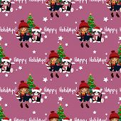 Christmas Holiday Season Seamless Pattern Of Cute Girl In Winter Custom With Gift Box , Cute Cat, Ch poster