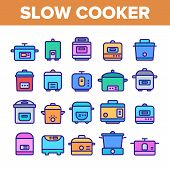Slow Cooker Elements Collection Vector Icons Set Thin Line. Different Cooker Kitchenware Concept Lin poster