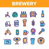 Collection Beer Brewery Elements Vector Icons Set Thin Line. Alcohol Foam Drink Brewery Concept Line poster