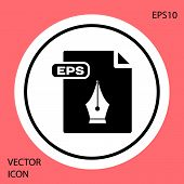 Black Eps File Document. Download Eps Button Icon Isolated On Red Background. Eps File Symbol. White poster