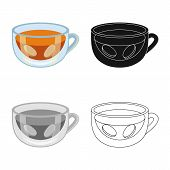 Vector Design Of Ginger And Tea Sign. Collection Of Ginger And Cup Stock Symbol For Web. poster