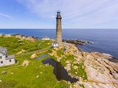 Aerial View Of Thacher Island Lighthouse On Thacher Island, Rockport, Cape Ann, Massachusetts, Usa.  poster