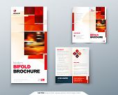 Bi Fold Brochure Design With Square Shapes, Corporate Business Template For Bi Fold Flyer. Creative  poster